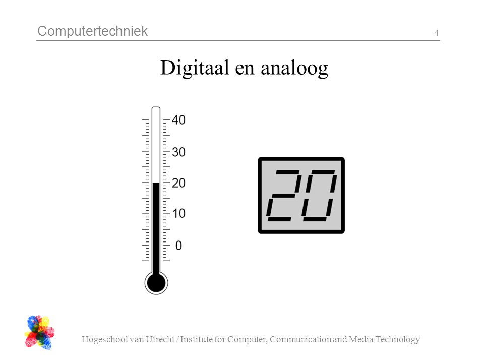 Computertechniek Hogeschool van Utrecht / Institute for Computer, Communication and Media Technology 4 Digitaal en analoog