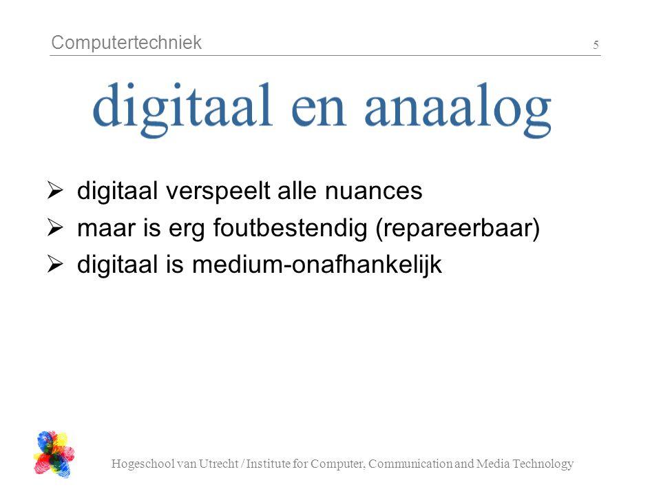 Computertechniek Hogeschool van Utrecht / Institute for Computer, Communication and Media Technology 5  digitaal verspeelt alle nuances  maar is erg foutbestendig (repareerbaar)  digitaal is medium-onafhankelijk