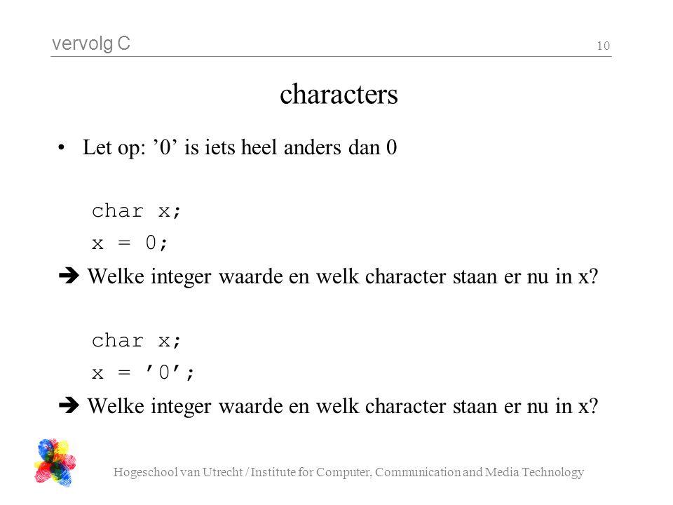 vervolg C Hogeschool van Utrecht / Institute for Computer, Communication and Media Technology 10 characters Let op: '0' is iets heel anders dan 0 char x; x = 0;  Welke integer waarde en welk character staan er nu in x.