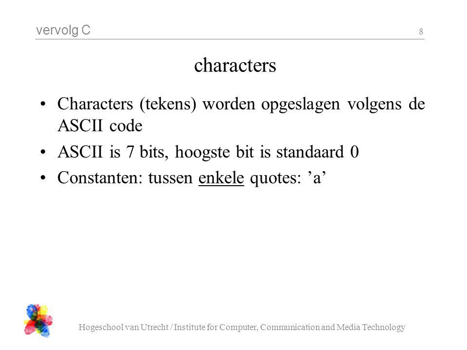 vervolg C Hogeschool van Utrecht / Institute for Computer, Communication and Media Technology 8 characters Characters (tekens) worden opgeslagen volgens de ASCII code ASCII is 7 bits, hoogste bit is standaard 0 Constanten: tussen enkele quotes: 'a'