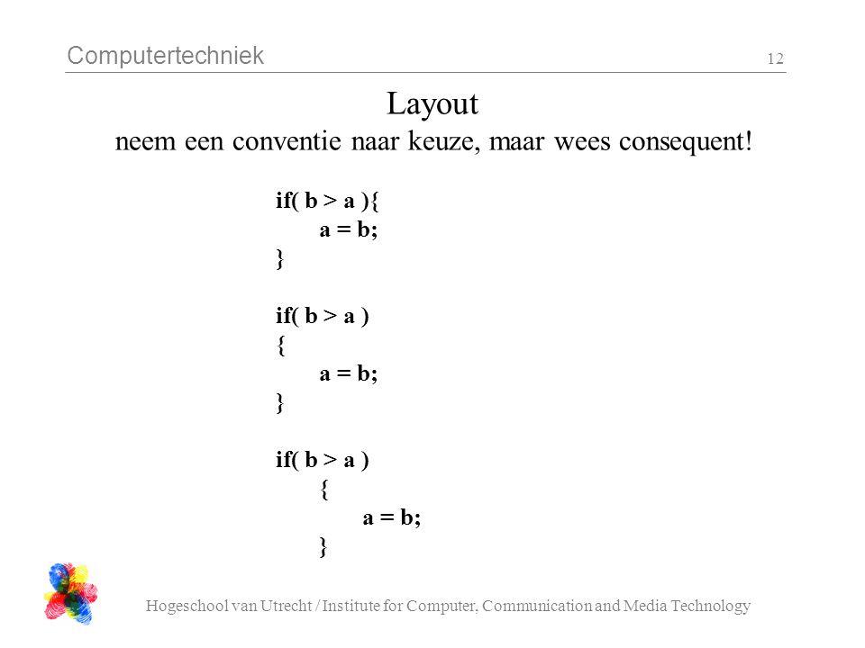 Computertechniek Hogeschool van Utrecht / Institute for Computer, Communication and Media Technology 12 Layout neem een conventie naar keuze, maar wee