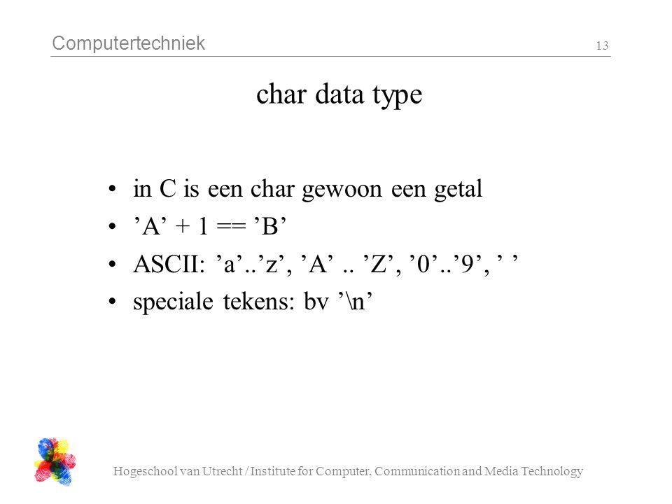 Computertechniek Hogeschool van Utrecht / Institute for Computer, Communication and Media Technology 13 char data type in C is een char gewoon een get