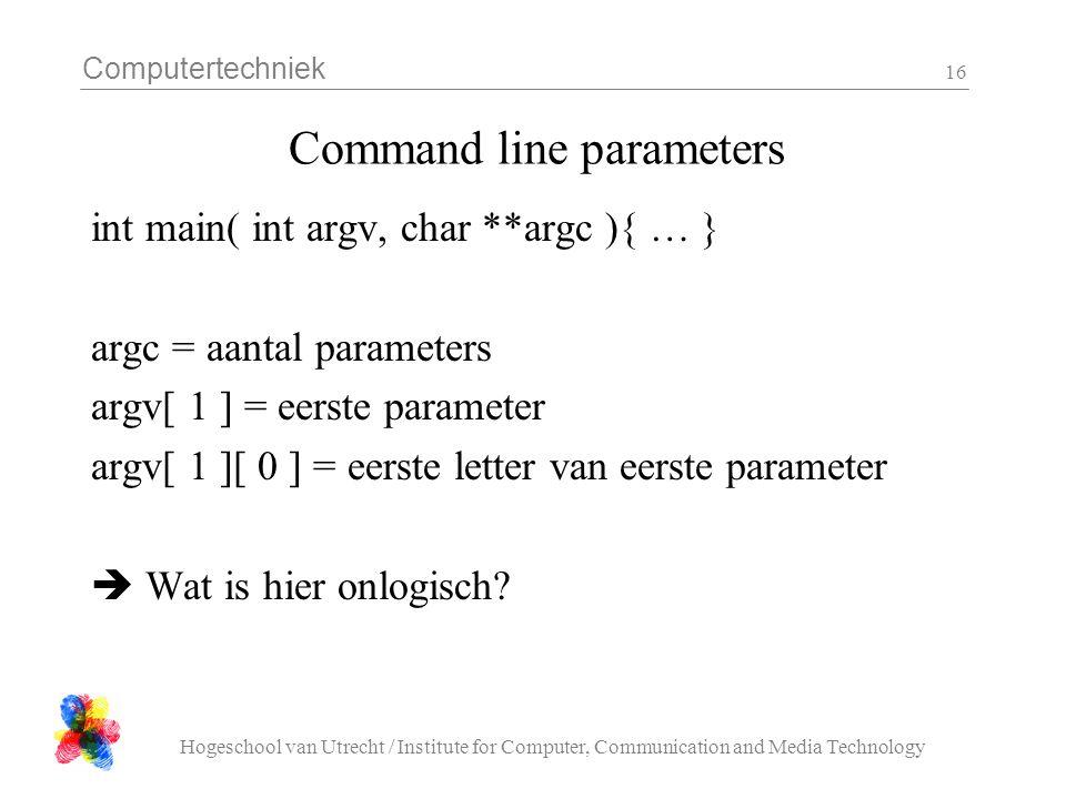 Computertechniek Hogeschool van Utrecht / Institute for Computer, Communication and Media Technology 16 Command line parameters int main( int argv, ch