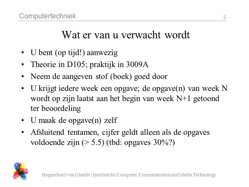Computertechniek Hogeschool van Utrecht / Institute for Computer, Communication and Media Technology 2 Wat er van u verwacht wordt U bent (op tijd!) a