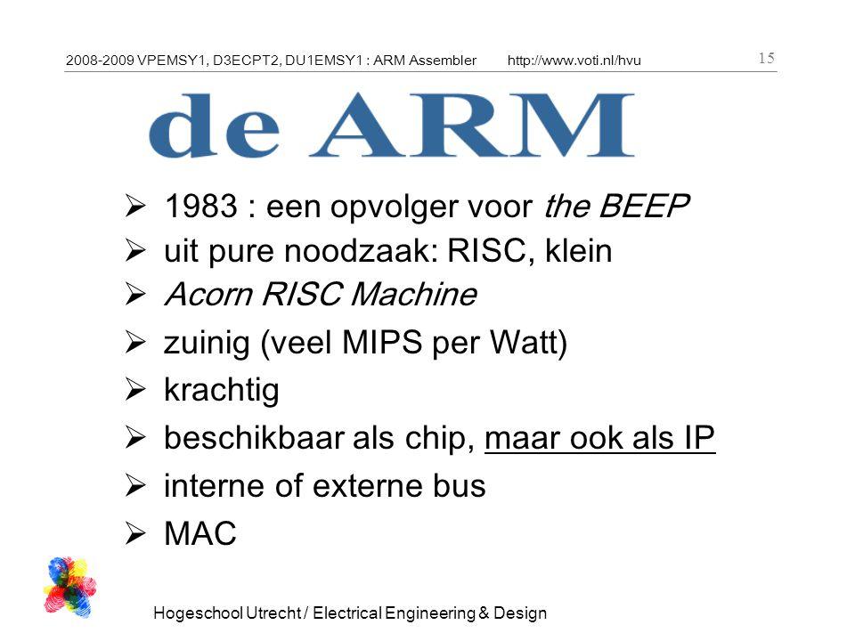2008-2009 VPEMSY1, D3ECPT2, DU1EMSY1 : ARM Assemblerhttp://www.voti.nl/hvu Hogeschool Utrecht / Electrical Engineering & Design 15  1983 : een opvolg