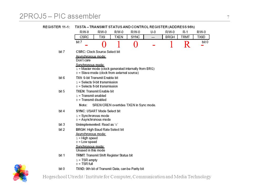 2PROJ5 – PIC assembler Hogeschool Utrecht / Institute for Computer, Communication and Media Technology 7 100-1--R