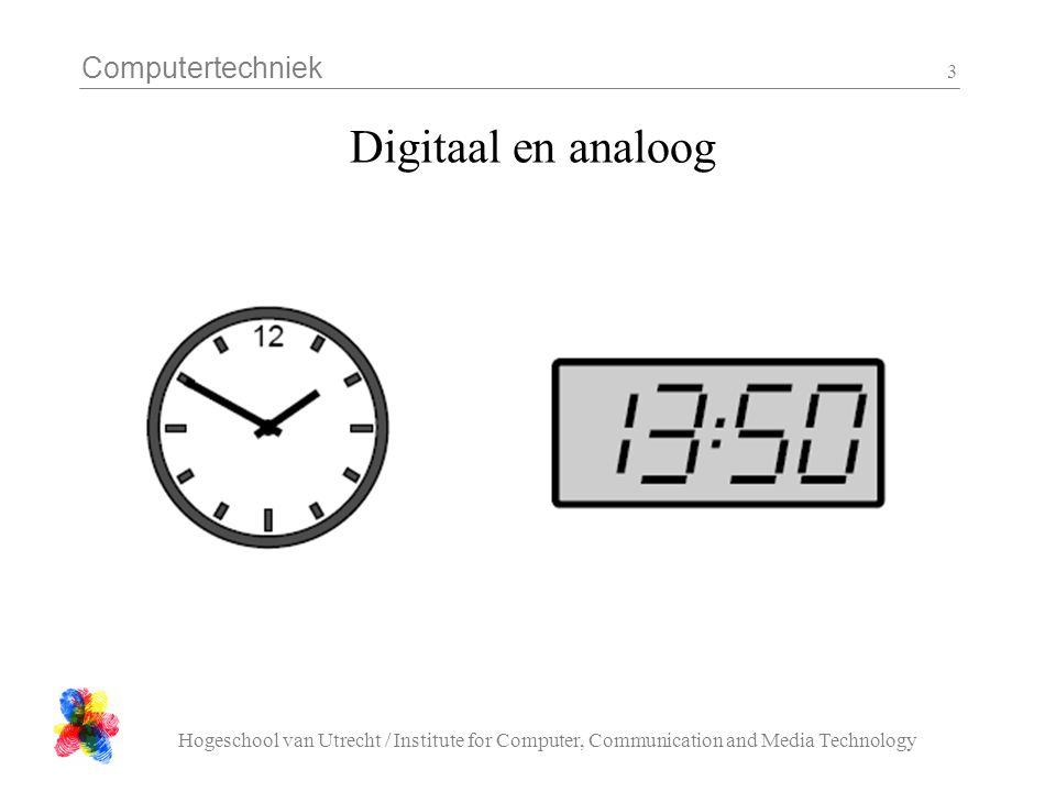 Computertechniek Hogeschool van Utrecht / Institute for Computer, Communication and Media Technology 3 Digitaal en analoog