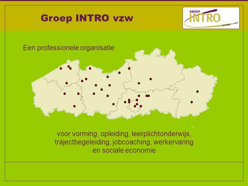 Een professionele organisatie voor vorming, opleiding, leerplichtonderwijs, trajectbegeleiding, jobcoaching, werkervaring en sociale economie Groep INTRO vzw