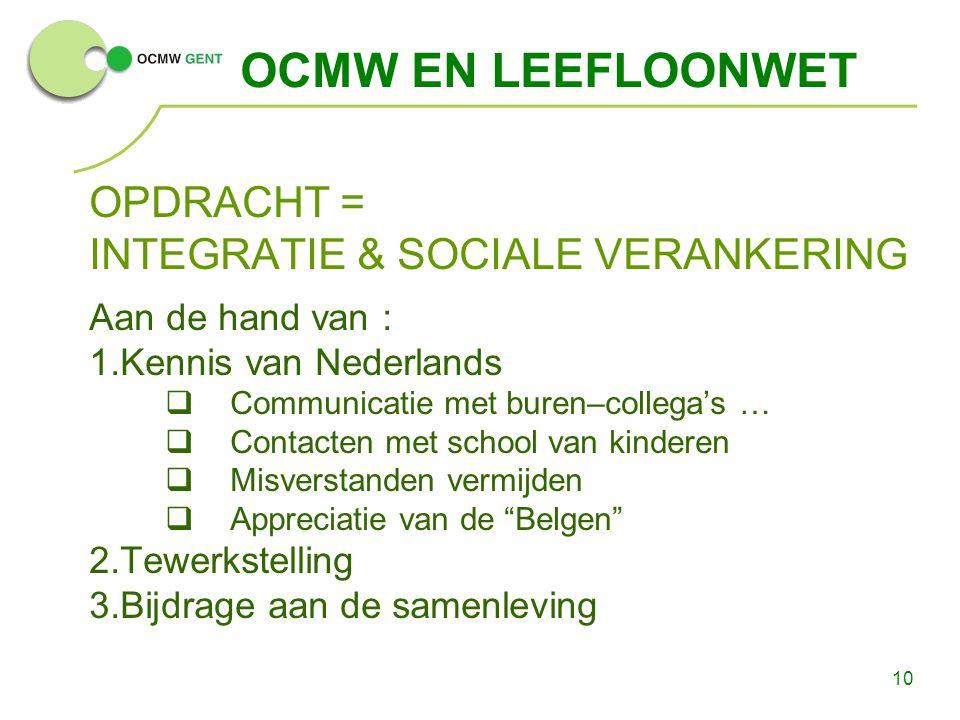 10 OCMW EN LEEFLOONWET OPDRACHT = INTEGRATIE & SOCIALE VERANKERING Aan de hand van : 1.Kennis van Nederlands  Communicatie met buren–collega's …  Co