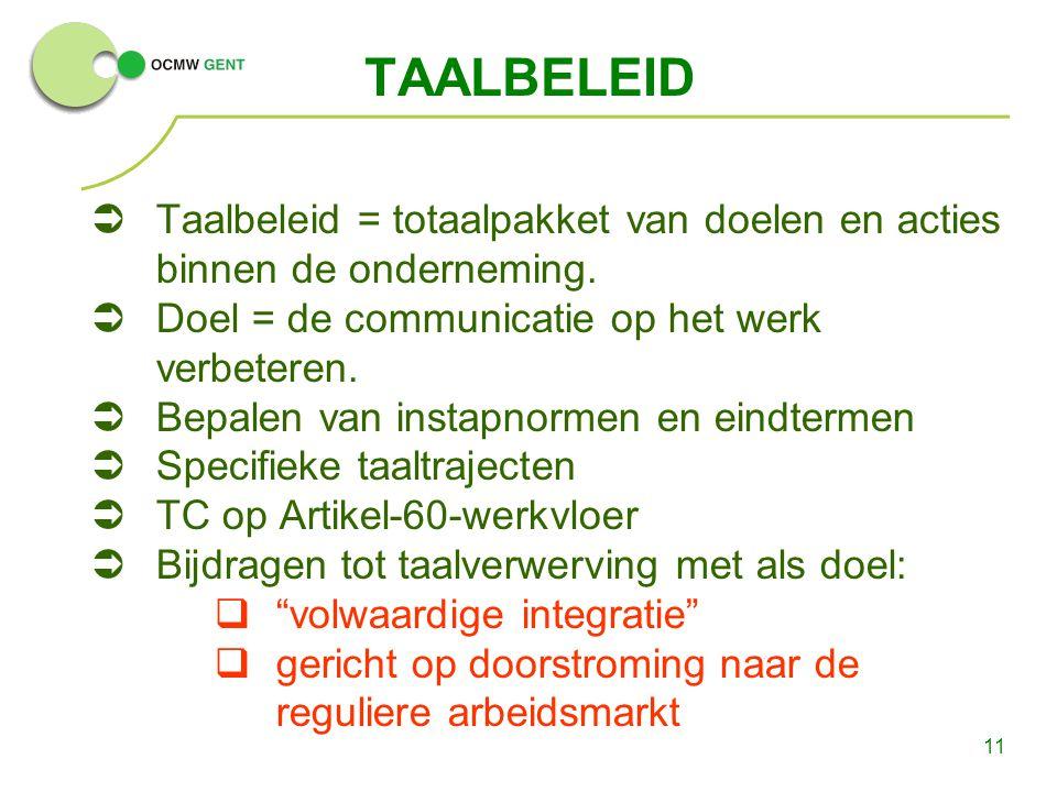 11 TAALBELEID  Taalbeleid = totaalpakket van doelen en acties binnen de onderneming.