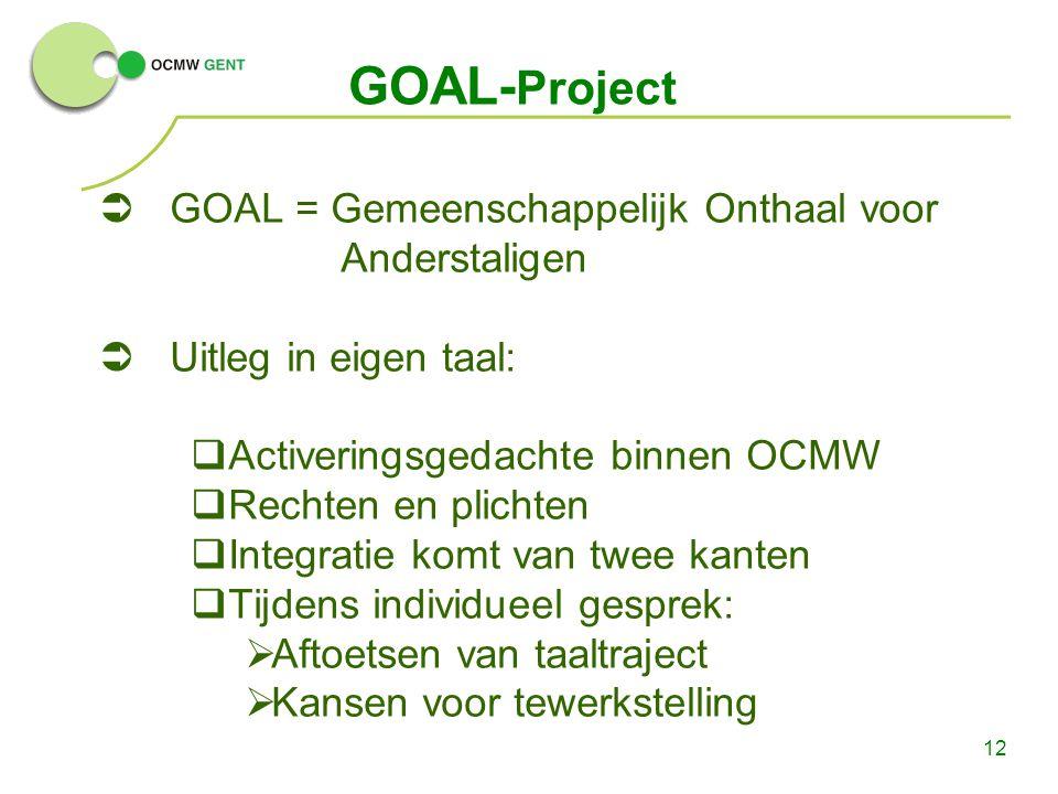 12 GOAL- Project  GOAL = Gemeenschappelijk Onthaal voor Anderstaligen  Uitleg in eigen taal:  Activeringsgedachte binnen OCMW  Rechten en plichten  Integratie komt van twee kanten  Tijdens individueel gesprek:  Aftoetsen van taaltraject  Kansen voor tewerkstelling