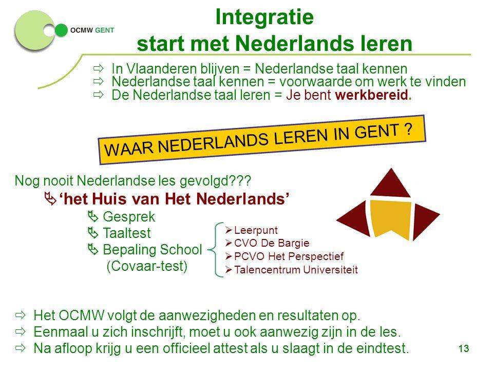 13  In Vlaanderen blijven = Nederlandse taal kennen  Nederlandse taal kennen = voorwaarde om werk te vinden  De Nederlandse taal leren = Je bent werkbereid.