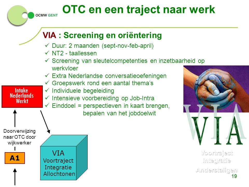 19 A1 Intake Nederlands Werkt OTC en een traject naar werk 19 VIA Voortraject Integratie Allochtonen Doorverwijzing naar OTC door wijkwerker Duur: 2 m