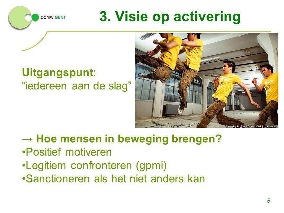 """5 3. Visie op activering Uitgangspunt: """"iedereen aan de slag"""" → Hoe mensen in beweging brengen? Positief motiveren Legitiem confronteren (gpmi) Sancti"""
