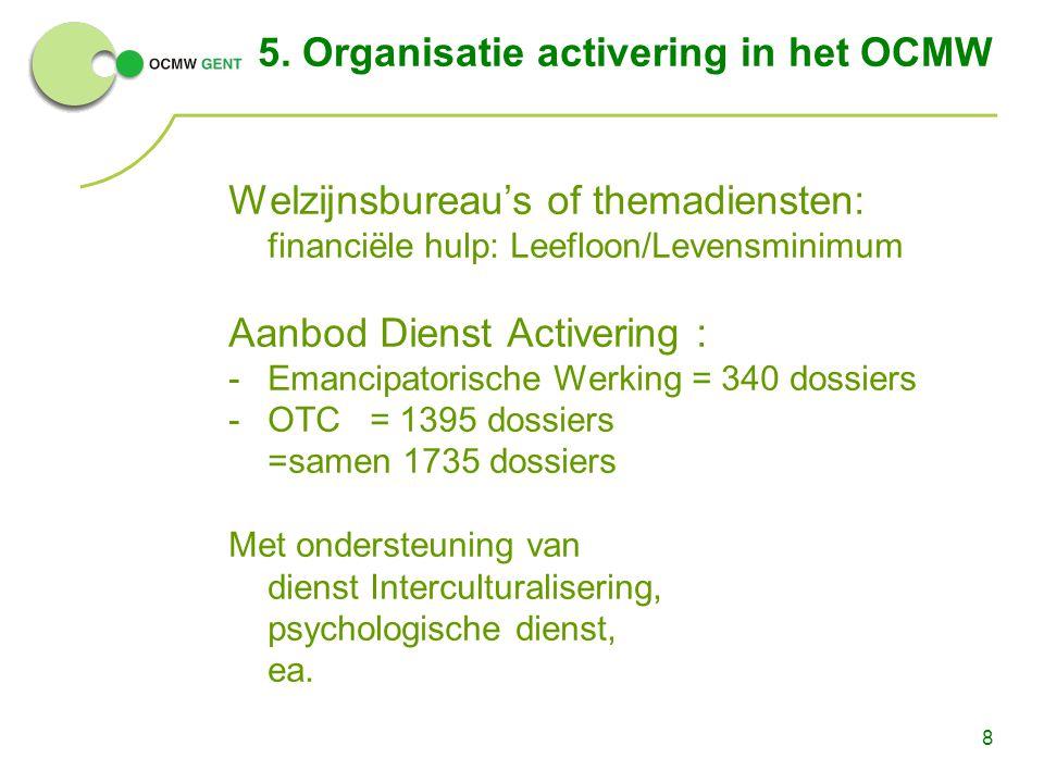 8 5. Organisatie activering in het OCMW Welzijnsbureau's of themadiensten: financiële hulp: Leefloon/Levensminimum Aanbod Dienst Activering : -Emancip
