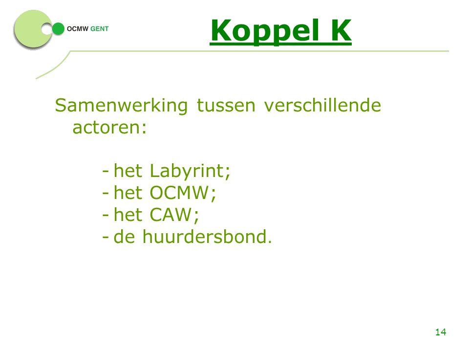 14 Koppel K Samenwerking tussen verschillende actoren: -het Labyrint; -het OCMW; -het CAW; -de huurdersbond.