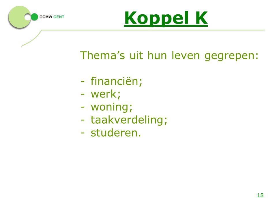 18 Koppel K Thema's uit hun leven gegrepen: -financiën; -werk; -woning; -taakverdeling; -studeren.