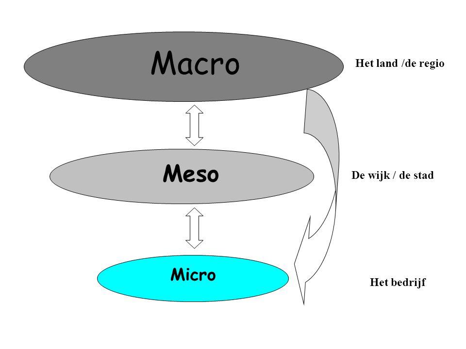 Macro Meso Micro De stad/de regio Het land /de regio De wijk / de stad Het bedrijf