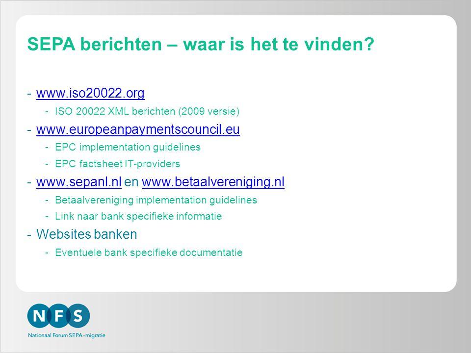SEPA berichten – waar is het te vinden.