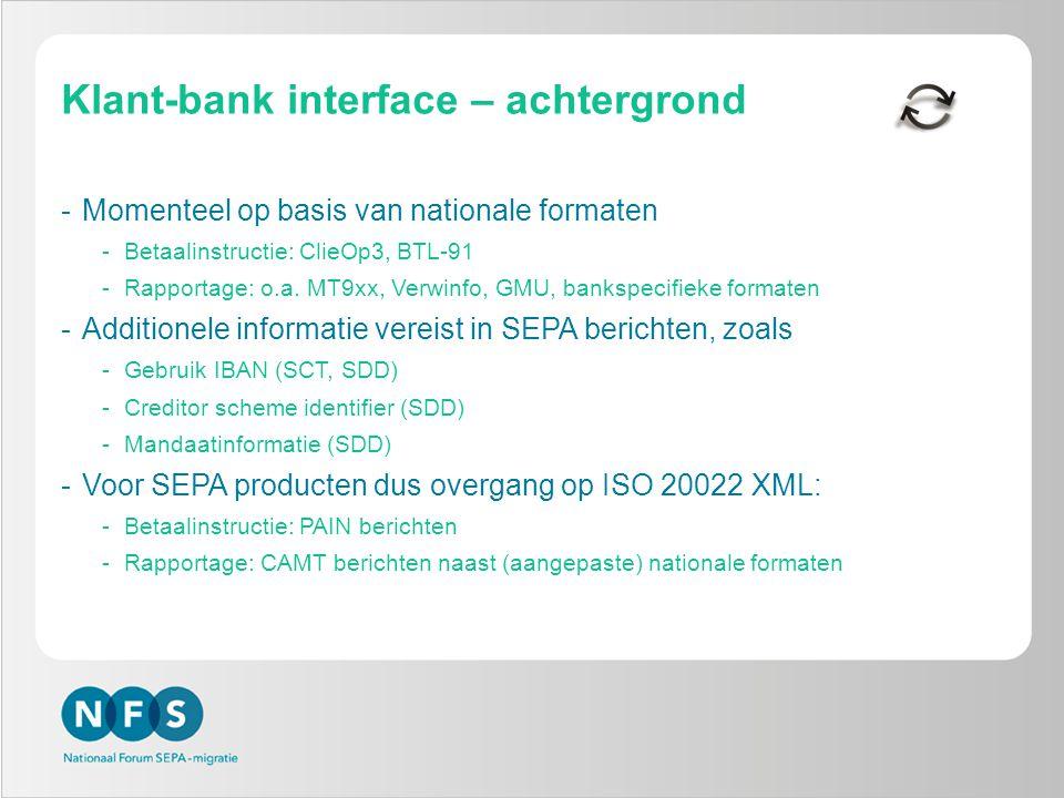Klant-bank interface – achtergrond -Momenteel op basis van nationale formaten -Betaalinstructie: ClieOp3, BTL-91 -Rapportage: o.a.