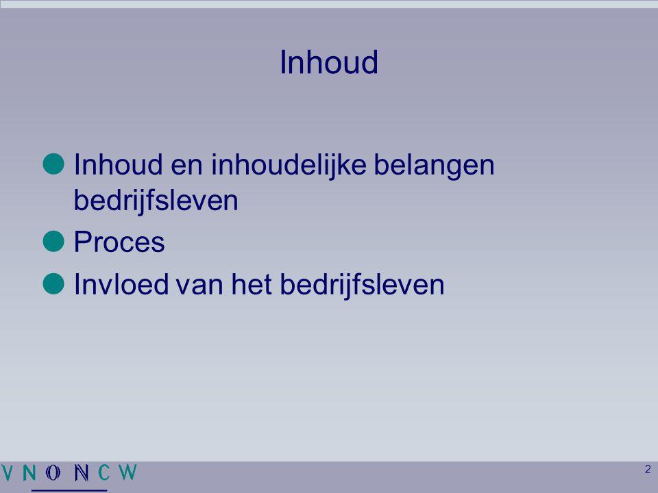 2 Inhoud  Inhoud en inhoudelijke belangen bedrijfsleven  Proces  Invloed van het bedrijfsleven