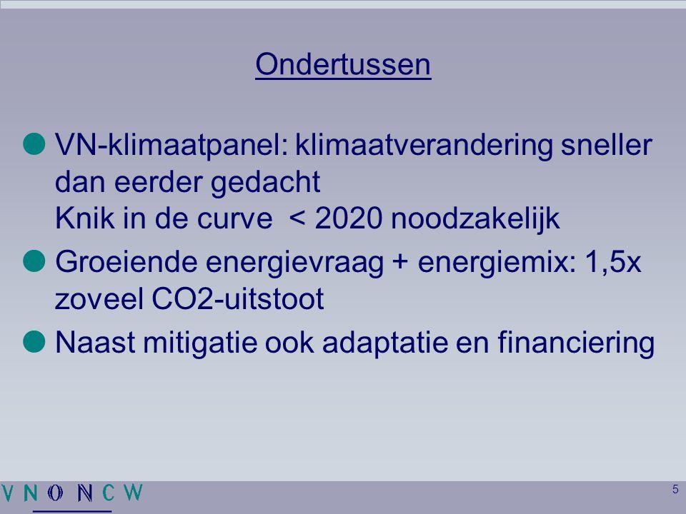 5 Ondertussen  VN-klimaatpanel: klimaatverandering sneller dan eerder gedacht Knik in de curve < 2020 noodzakelijk  Groeiende energievraag + energiemix: 1,5x zoveel CO2-uitstoot  Naast mitigatie ook adaptatie en financiering