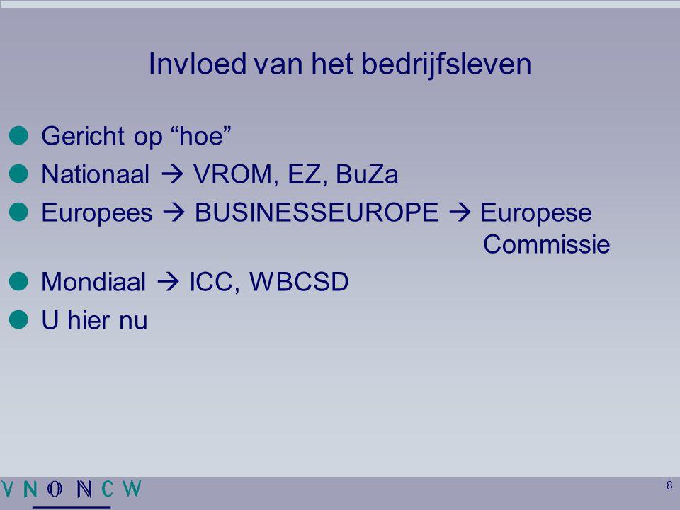 """8 Invloed van het bedrijfsleven  Gericht op """"hoe""""  Nationaal  VROM, EZ, BuZa  Europees  BUSINESSEUROPE  Europese Commissie  Mondiaal  ICC, WBC"""