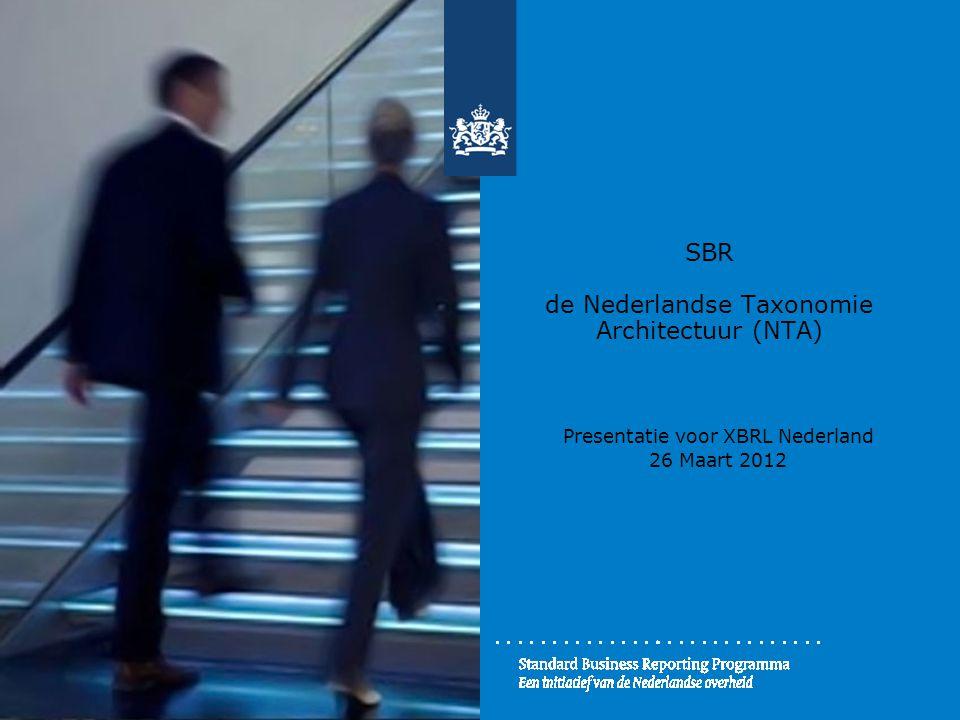 SBR de Nederlandse Taxonomie Architectuur (NTA) Presentatie voor XBRL Nederland 26 Maart 2012