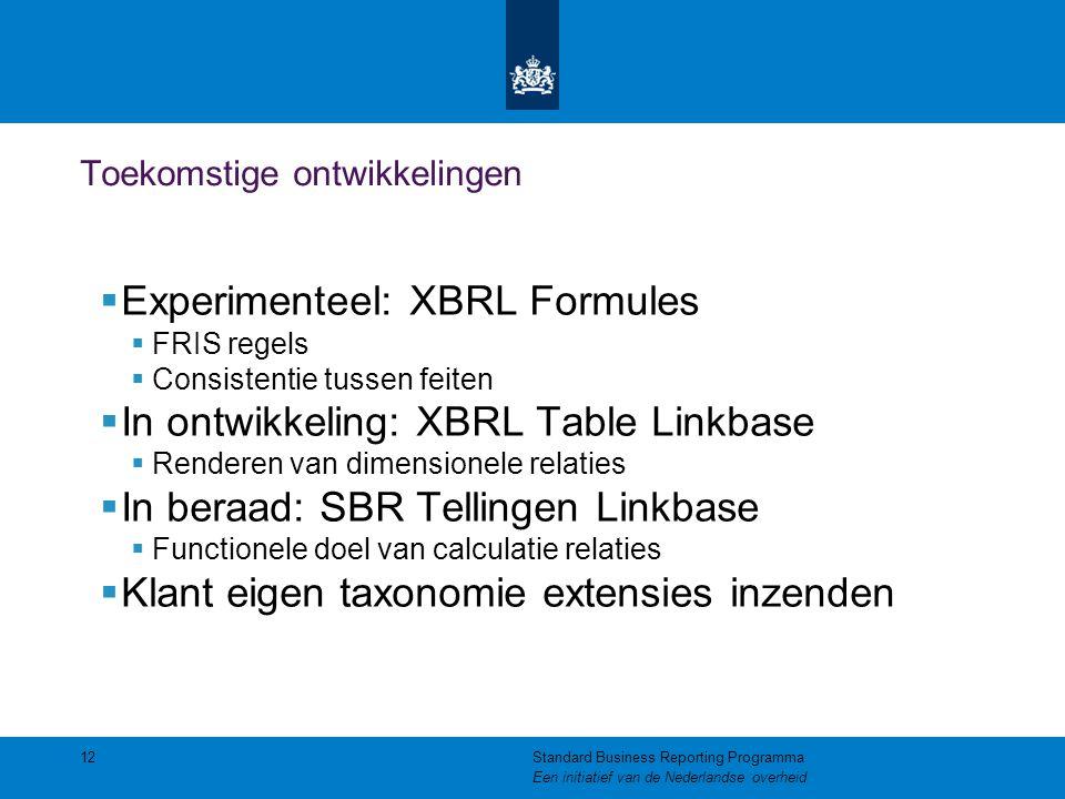 Toekomstige ontwikkelingen  Experimenteel: XBRL Formules  FRIS regels  Consistentie tussen feiten  In ontwikkeling: XBRL Table Linkbase  Renderen