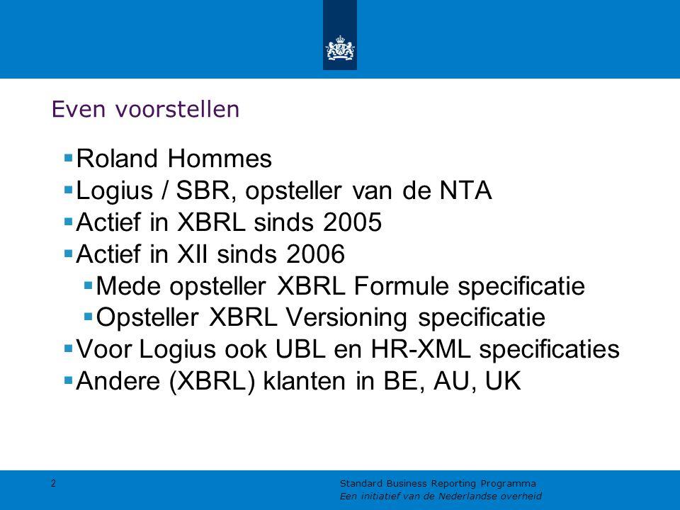 Even voorstellen  Roland Hommes  Logius / SBR, opsteller van de NTA  Actief in XBRL sinds 2005  Actief in XII sinds 2006  Mede opsteller XBRL For