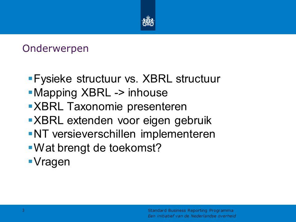 Onderwerpen  Fysieke structuur vs. XBRL structuur  Mapping XBRL -> inhouse  XBRL Taxonomie presenteren  XBRL extenden voor eigen gebruik  NT vers