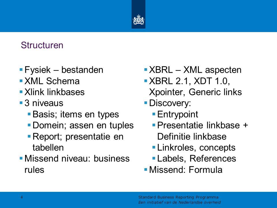 Structuren 4 Standard Business Reporting Programma Een initiatief van de Nederlandse overheid  Fysiek – bestanden  XML Schema  Xlink linkbases  3