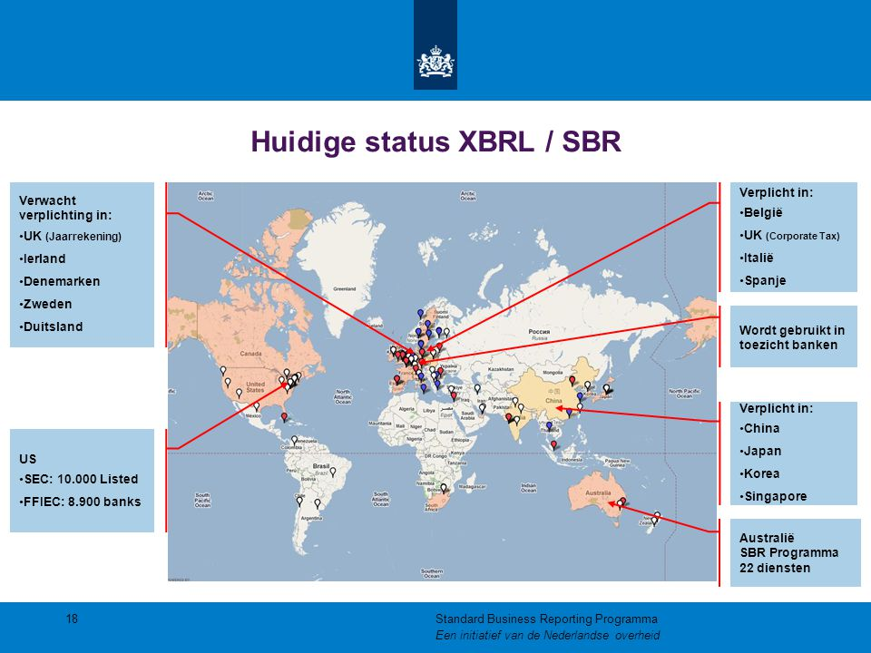 18Standard Business Reporting Programma Een initiatief van de Nederlandse overheid Verwacht verplichting in: UK (Jaarrekening) Ierland Denemarken Zwed