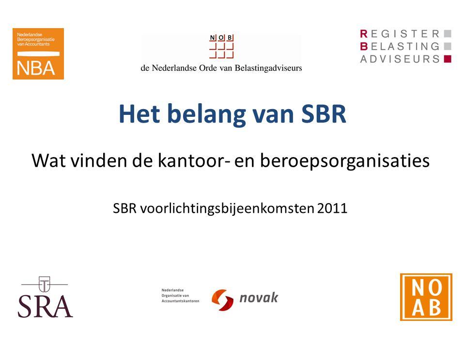 Het belang van SBR Wat vinden de kantoor- en beroepsorganisaties SBR voorlichtingsbijeenkomsten 2011