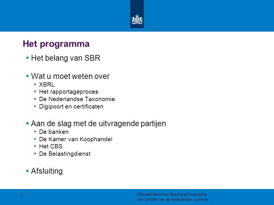 Het programma  Het belang van SBR  Wat u moet weten over  XBRL  Het rapportageproces  De Nederlandse Taxonomie  Digipoort en certificaten  Aan