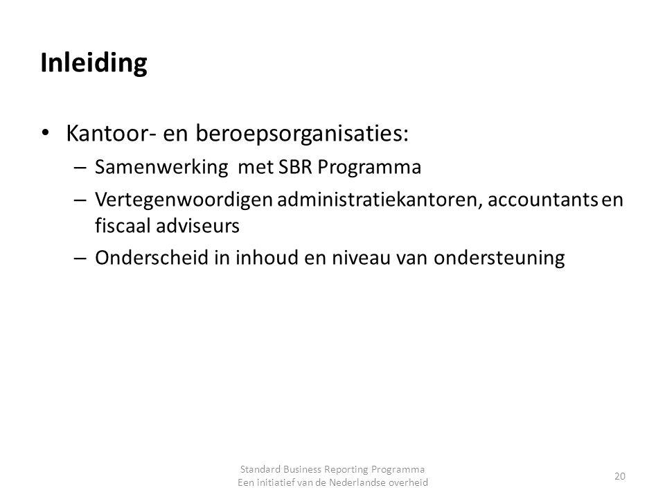 Inleiding Kantoor- en beroepsorganisaties: – Samenwerking met SBR Programma – Vertegenwoordigen administratiekantoren, accountants en fiscaal adviseur