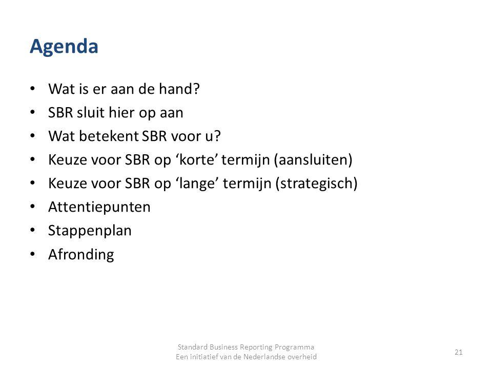 Agenda Wat is er aan de hand? SBR sluit hier op aan Wat betekent SBR voor u? Keuze voor SBR op 'korte' termijn (aansluiten) Keuze voor SBR op 'lange'