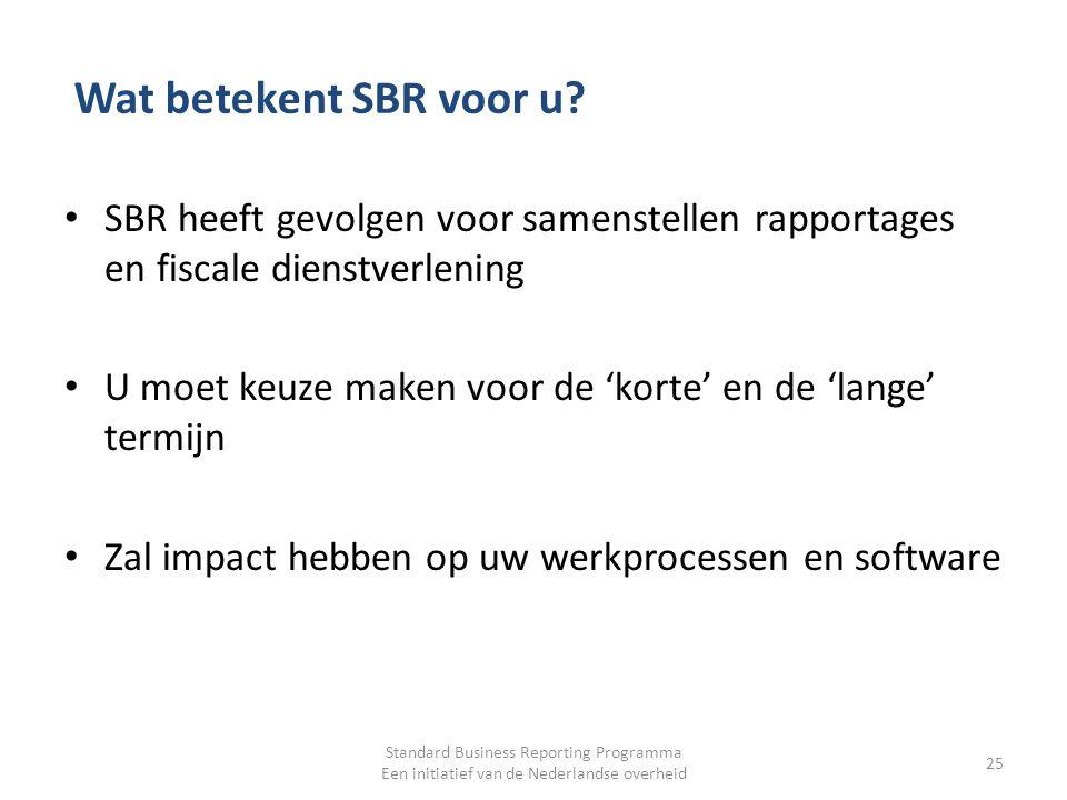 Wat betekent SBR voor u? SBR heeft gevolgen voor samenstellen rapportages en fiscale dienstverlening U moet keuze maken voor de 'korte' en de 'lange'