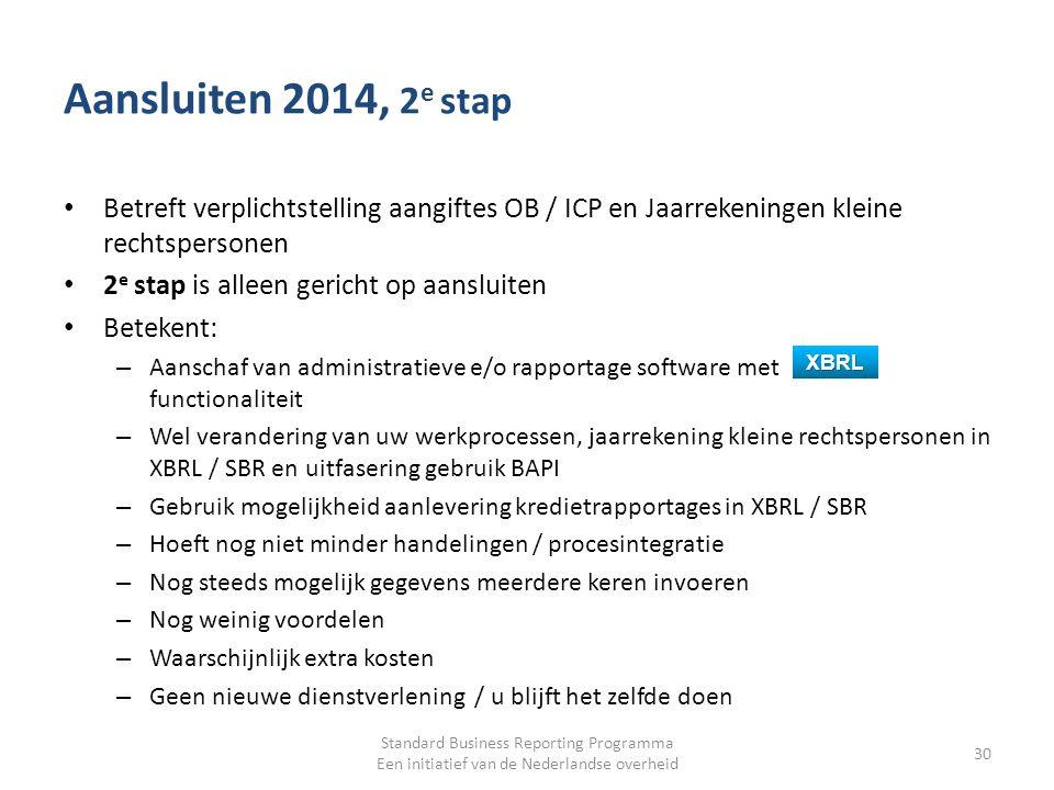Aansluiten 2014, 2 e stap Betreft verplichtstelling aangiftes OB / ICP en Jaarrekeningen kleine rechtspersonen 2 e stap is alleen gericht op aansluite