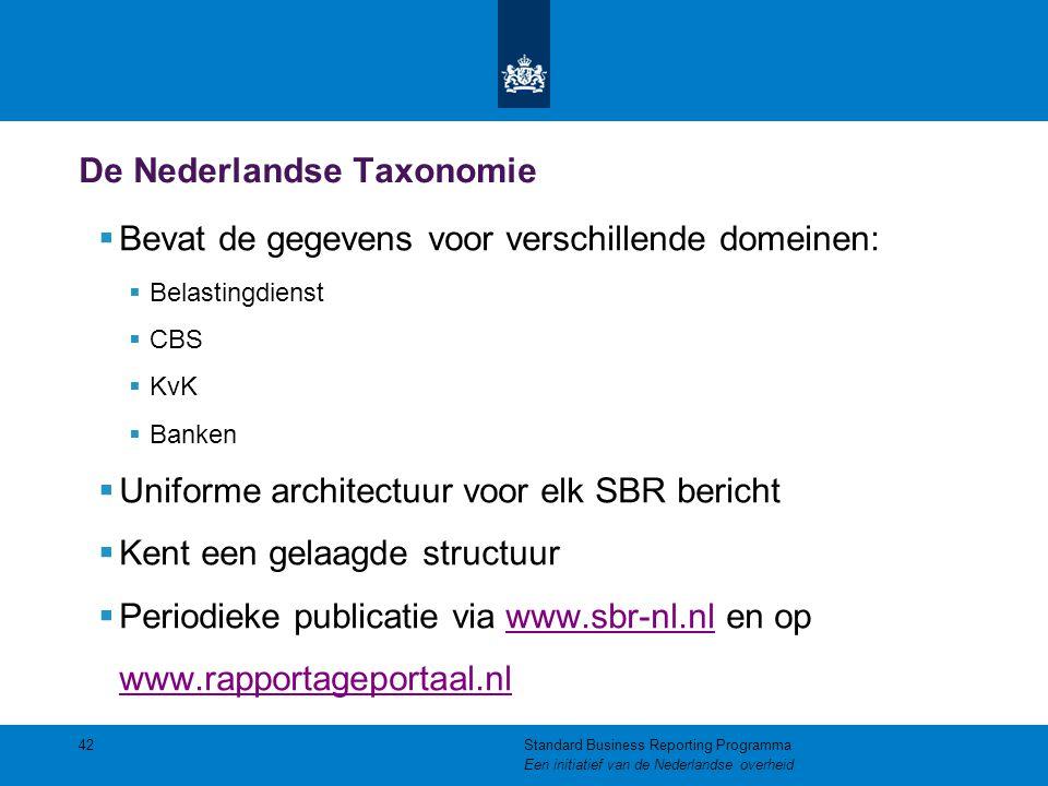 De Nederlandse Taxonomie  Bevat de gegevens voor verschillende domeinen:  Belastingdienst  CBS  KvK  Banken  Uniforme architectuur voor elk SBR
