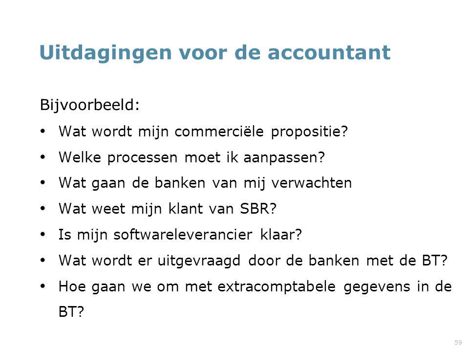 59 Uitdagingen voor de accountant Bijvoorbeeld: Wat wordt mijn commerciële propositie? Welke processen moet ik aanpassen? Wat gaan de banken van mij v