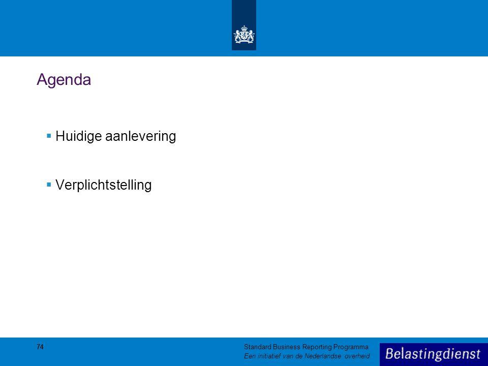 74 Agenda  Huidige aanlevering  Verplichtstelling 74Standard Business Reporting Programma Een initiatief van de Nederlandse overheid