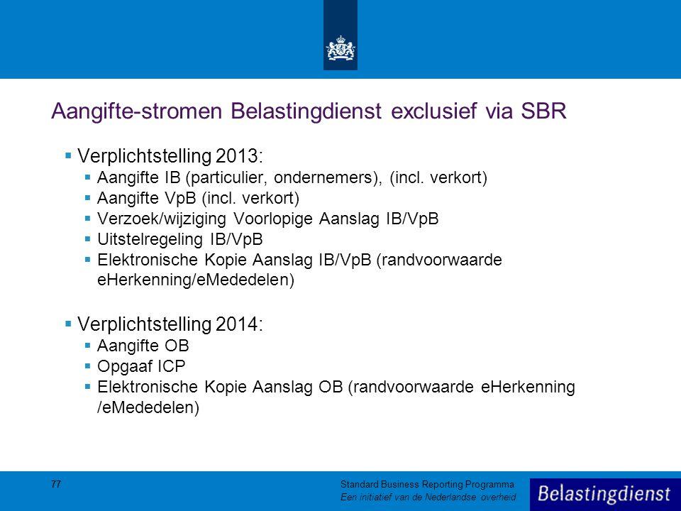 77 Aangifte-stromen Belastingdienst exclusief via SBR  Verplichtstelling 2013:  Aangifte IB (particulier, ondernemers), (incl. verkort)  Aangifte V