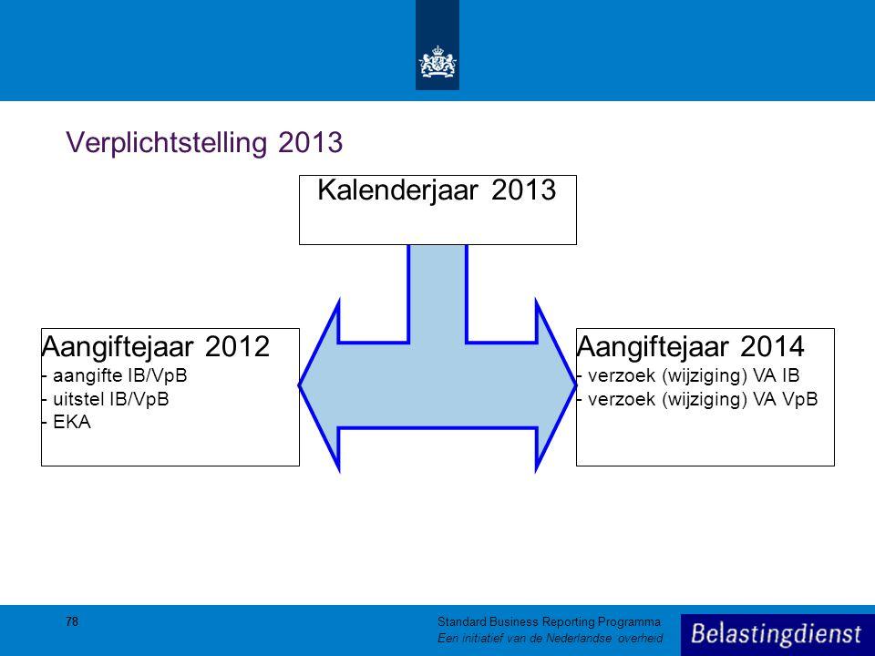 78 Verplichtstelling 2013 Kalenderjaar 2013 Aangiftejaar 2012 - aangifte IB/VpB - uitstel IB/VpB - EKA Aangiftejaar 2014 - verzoek (wijziging) VA IB -