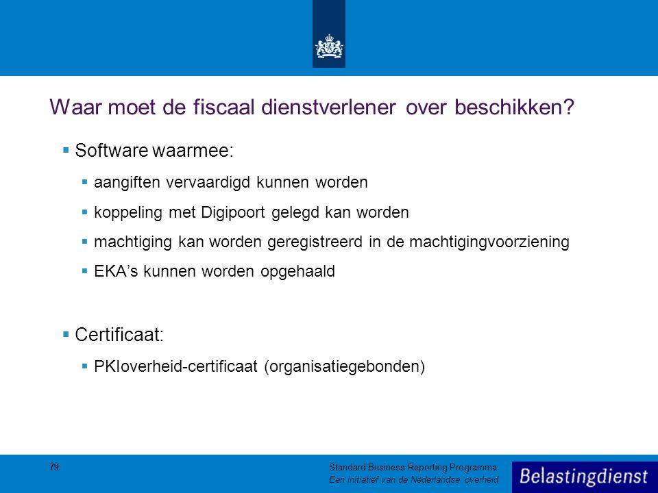 79 Waar moet de fiscaal dienstverlener over beschikken?  Software waarmee:  aangiften vervaardigd kunnen worden  koppeling met Digipoort gelegd kan