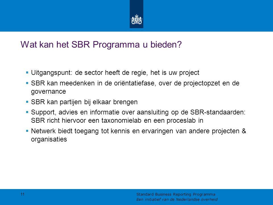 Wat kan het SBR Programma u bieden?  Uitgangspunt: de sector heeft de regie, het is uw project  SBR kan meedenken in de oriëntatiefase, over de proj