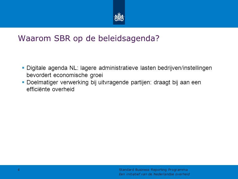 Waarom SBR op de beleidsagenda?  Digitale agenda NL: lagere administratieve lasten bedrijven/instellingen bevordert economische groei  Doelmatiger v