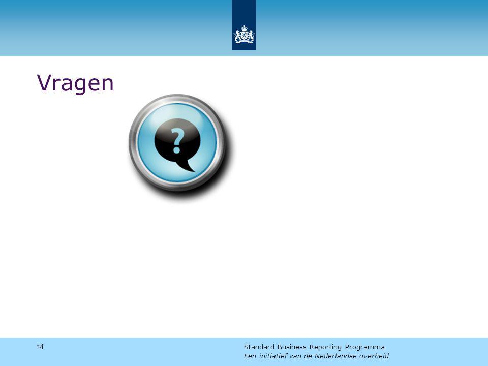 Vragen 14 Standard Business Reporting Programma Een initiatief van de Nederlandse overheid