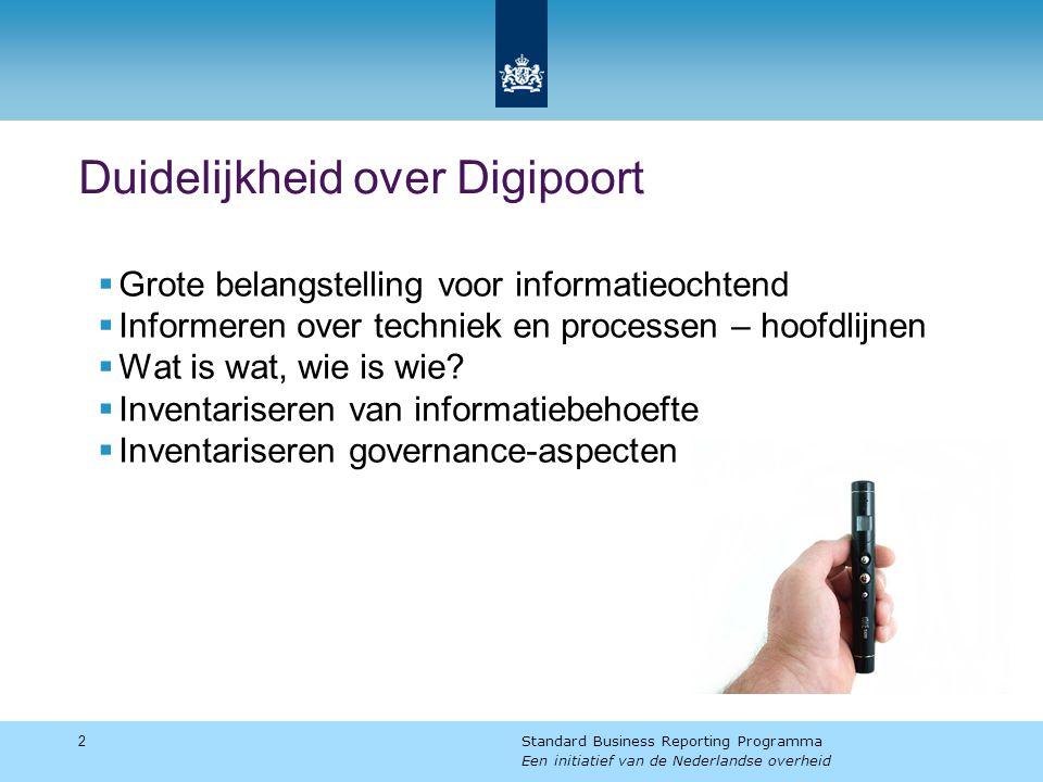 Duidelijkheid over Digipoort  Grote belangstelling voor informatieochtend  Informeren over techniek en processen – hoofdlijnen  Wat is wat, wie is wie.