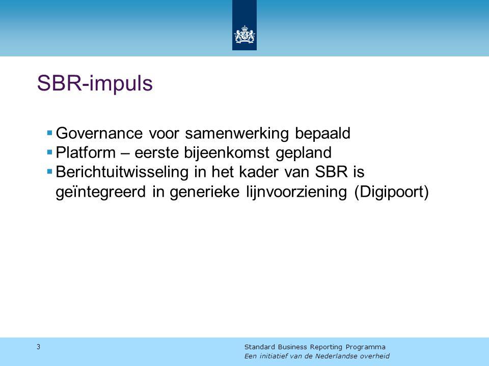 SBR-impuls  Governance voor samenwerking bepaald  Platform – eerste bijeenkomst gepland  Berichtuitwisseling in het kader van SBR is geïntegreerd in generieke lijnvoorziening (Digipoort) 3 Standard Business Reporting Programma Een initiatief van de Nederlandse overheid